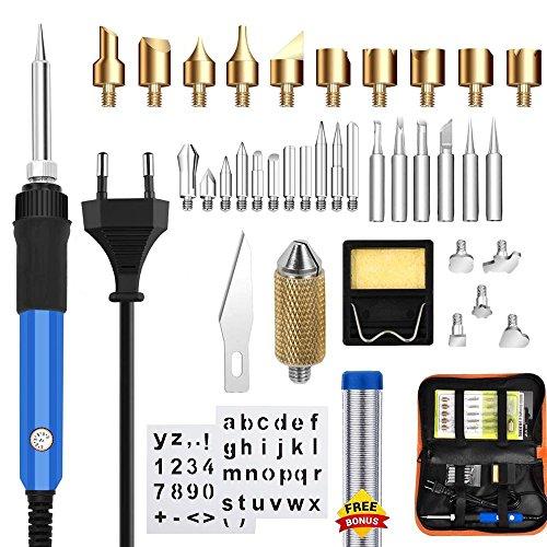 Kit para quemar madera, Mcwdoit 37Pcs Pirograbado para quemar madera Kit-60W Temperatura ajustable para tallar herramientas para quemar madera