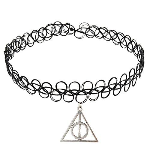 Jane Stone Damen Halskette Choker Kropfband mit Anhänger Henna Tattoo schwarz elastisch enge anliegende Jocker Kette für junge Frau und Mädel