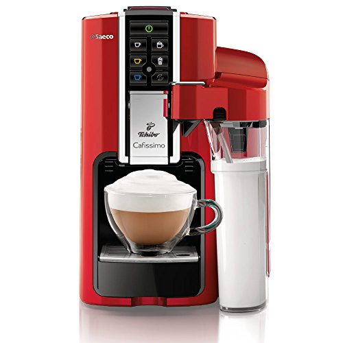 Tchibo Saeco Cafissimo Latte Kapselmaschine (für Kaffee, Espresso,Caffé Crema,Latte Macchiato,Cappuccino oder Tee), rot (Espresso-latte-cappucino-maschine)
