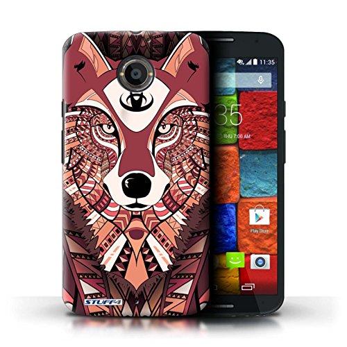 Kobalt® Imprimé Etui / Coque pour Motorola Moto X (2014) / Tigre-Rouge conception / Série Motif Animaux Aztec Loup-Rouge