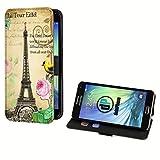 deinPhone Samsung Galaxy S5 Mini Kunstleder Flip Case Eiffelturm Rosa Blume