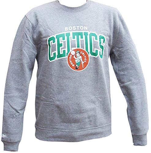 Mitchell & Ness Boston Celtics HWC Arch Logo Crewneck Grey NBA Sweater Pullover Herren Men -