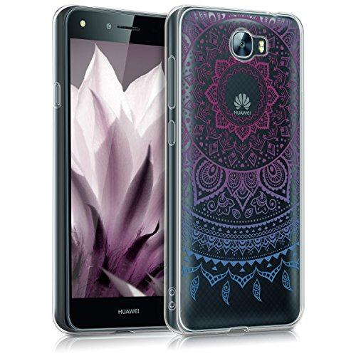 kwmobile Hülle für Huawei Y6 II Compact (2016) - TPU Silikon Backcover Case Handy Schutzhülle - Cover klar Indische Sonne Design Blau Pink Transparent