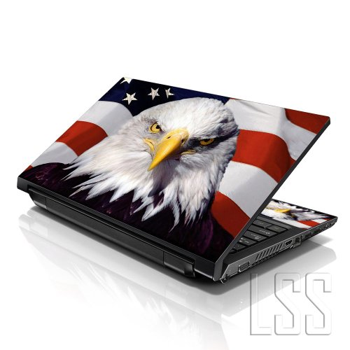 LSS (17-17,3 Zoll) Notebook Laptop Skin Aufkleber für 16,5 cm, 17 Zoll, 17,3 Zoll, 18,4, 19 Zoll, Apple, Asus, Acer, HP, Dell, Lenovo, Asus, Compaq, inkl. 2 Wrist Pad-Usa Eagle
