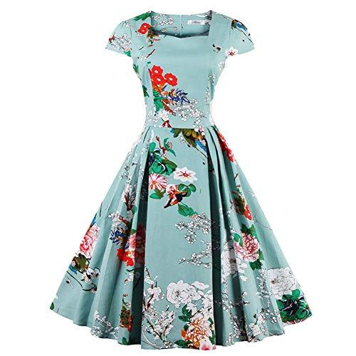 Vestito da Donna con Scollo a A ad Abbottonatura Floreale con Scollo a Cuore Stile Vintage Anni '50 Abiti(M)