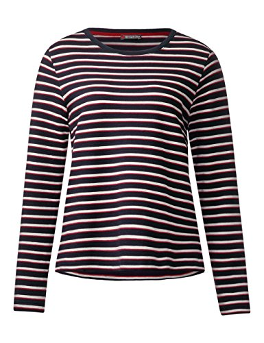 Street One T-Shirt Manches Longues Femme Mehrfarbig (Night Blue 30109)
