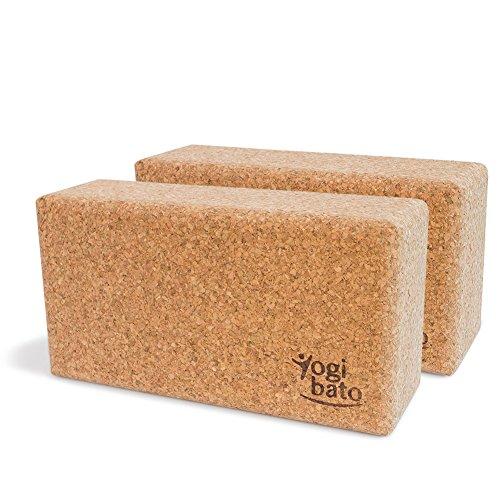 Yogibato Yogablock Kork stabil & rutschfest | Yoga Block 2er Set | Natur Korkblock für Yoga und Fitness - Pilates & Hatha Klotz - Cork Brick - Yogaklotz aus 100% Naturkork