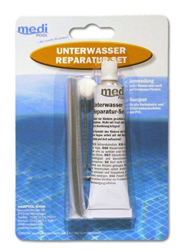 Unterwasserreparatur-Set von mediPOOL - Spezial-Unterwasserkleber (Reparatur-Set) - Unterwasser Reparatur-Set für Pool - Schwimmbecken - Innenhülle - Folienreparatur