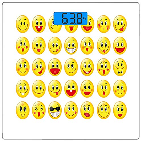 Präzisions-Digital-Körpergewichtswaage Emoji Ultra Slim Gehärtetes Glas Personenwaage Genaue Gewichtsmessungen, lustige gelbe Köpfe Verschiedene Gesichtsausdrücke Runde Formen Glücklich Traurig Lachen