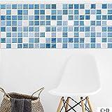 JY Cocina Impermeable A Prueba de Aceite Pegatinas de Pared Azul Mosaico Pegatinas de Azulejos Arte Baño Hogar Sala de Estar Dormitorio Piso Gabinete Cajón Decoración, 20 * 100cm*4pcs