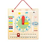 Small Foot Design 10850 Lerntafel aus Holz Anzeige für Jahreszeiten, Monate, Wochentage und Uhrzeit mit bunten Motiven und praktsicher Aufhängevorrichtung, Vorschulspielzeug geeignet für Kinder ab 3 Jahren