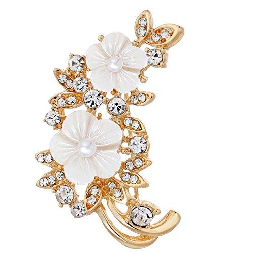 Hosaire 1x Damen Brosche Mode Weiße Blumen Perle mit Rhinestone Design Deko Broschen Frau/Herren...