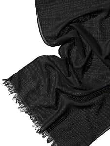 Léger écharpe en avec franges (couleur: noir) en Etamine, Etamine de laine, 100% coton, 180x 45cm