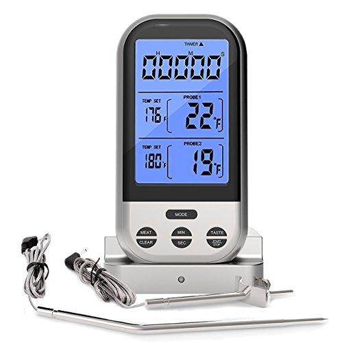 Grillthermometer – Rantizon Wireless Barbecue Grill Thermometer mit LCD Anzeige, 230ft Lange Reichweite Fernbedienung mit 2 Prüfspitzen Wasserdicht, Elektronische Countdown Timer & Alarm
