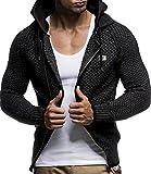 LEIF NELSON Herren Strick-Jacke mit Kapuze Slim Fit Grobstrick | Moderner schwarzer Herren Hoodie-Sweatjacke-Winterjacke Langarm Grobstrick | 7055