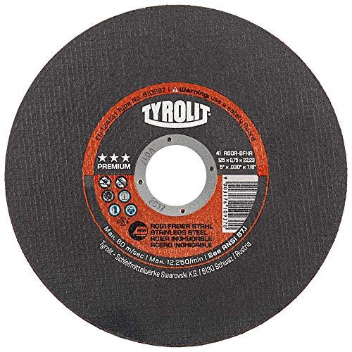 Tyrolit TYR-34332801 41 TRENNSCHEIBE GERADE, GEWEBEV. 41F 125x0,75x22,23 A60R-BFP
