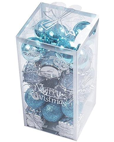 Colorfulworld 32pcs Weihnachtskugel-Verzierungen Christmas tree Anhänger für Weihnachtsbaum-Ausgangsdekoration (blue)