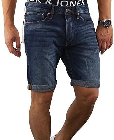 JACK & JONES Herren Short jjiERIK 509 jjiRICK kurze Hose Jeans Blue Denim Destroyed Ripped (L, Blau (Blue Denim Fit:REG jjiRICK