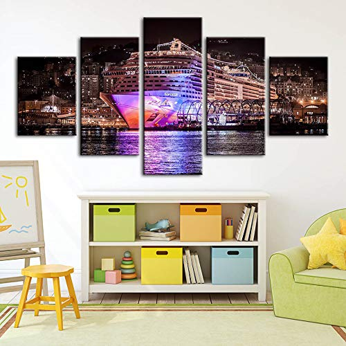 Home Decor Modern Canvas Poster City Building Ship Print Scenery s Modulare Immagini Wall Art Camera da Letto Background Artwork