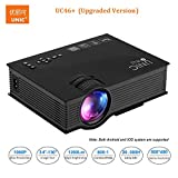 #3: UNIC UC46+ (Upgraded Version ) with USB/HDMI/VGA/WIFI Miracast DLNA Airplay 1200 lm LED Corded Portable Projector (Black)