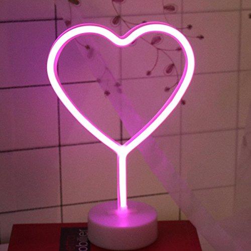 Yaeer Neon Signs LED Light Sign mit Boden für Home Party Geburtstag Schlafzimmer Nachttisch, Tisch Dekoration Kinder Geschenke Herz (Bankett-tisch Runde)