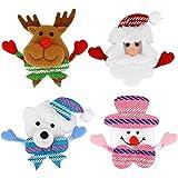 LED-blinkende Brosche 4 Stück mehrfarbige leuchtende Weihnachten Brosche Pin Set Bolzen Abzeichen Weihnachten WeihnachtsParty Kinder / Erwachsene Dekorationen Ornamente Geschenke einschließlich-Sant