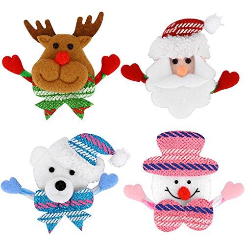 LED-blinkende Brosche 4 Stück mehrfarbige leuchtende Weihnachten Brosche Pin Set Bolzen Abzeichen Weihnachten WeihnachtsParty Kinder / Erwachsene Dekorationen Ornamente Geschenke einschließlich-Sant (Designer Rabatt Kinder Schuhe)