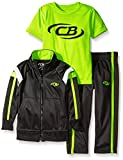 CB Sports Little Boys' 3 Piece Athletic Hoodie, T-Shirt, and Pant, Neon Lime, 4T