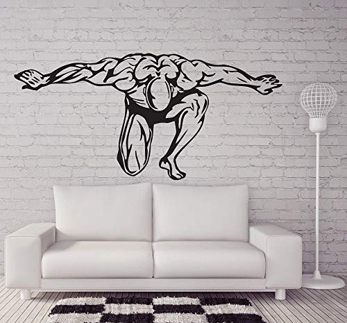 wangpdp Fitness-Enthusiasten Bodybuilding Fitness Vinyl Wandaufkleber Fitness Club Jugend Schlafsaal Schlafzimmer Dekoration Wandtattoo 89 * 42cm (Jugend-clubs Und)