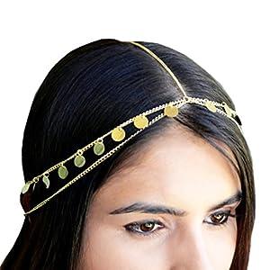 Legitta Damen Haarschmuck Haarband mit Paillette Charm Layered Kette aus Metalllegierung