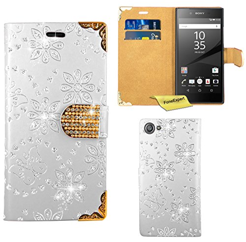 Preisvergleich Produktbild Sony Xperia Z5 Compact Handy Tasche, FoneExpert® Bling Luxus Diamant Hülle Wallet Case Cover Hüllen Etui Ledertasche Premium Lederhülle Schutzhülle für Sony Xperia Z5 Compact (Weiß)
