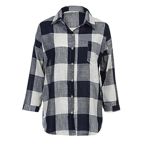 Femme T-shirt, Feixiang personnalisation Exclusive pour femme Check Plaid décontracté Loose Chemises à manches longues T-shirt TOPS Chemisier, plastique, bleu marine,
