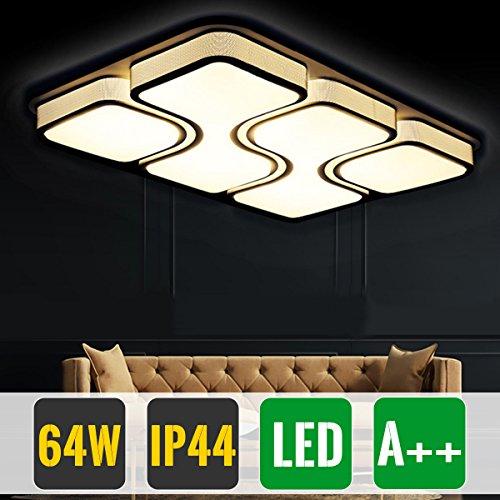 HG® 64W LED Deckenlampe Warmweiß Deckenleuchte Design Angenehmes Licht Wohnzimmer  Beleuchtung Wandleuchte