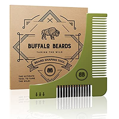 The Best Beard Shaping Stencil Tool from Buffalo Beards Includes Brush, Comb and User Guide - For Getting Perfect Beard Lines