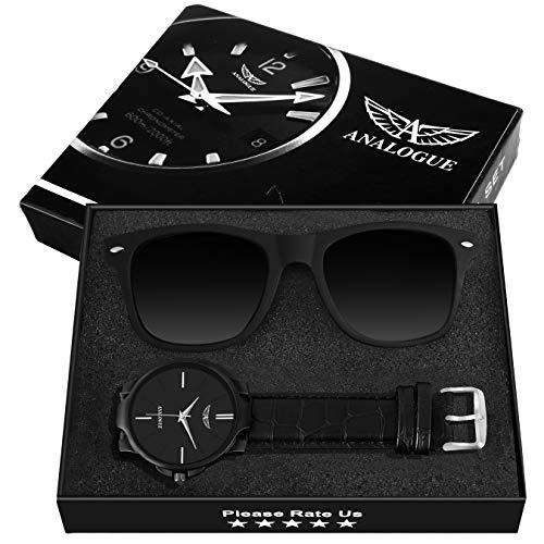 ANALOGUE Matte Black Wayfarer Sunglasses + Matte Black Wrist Watch for Men's and Boy's (168+1)