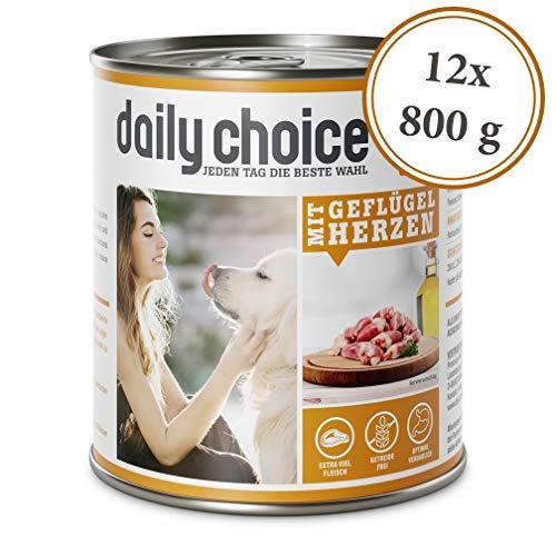 daily choice   12 x 800 g   Nassfutter für Hunde   getreidefrei   Mit Geflügelherzen   70{16c266fc3795e6faa128fdc448ed31812e7b3ad0513bb52c5e7e9eb95a032996} Frischfleisch- und Innereienanteil Optimale Verträglichkeit