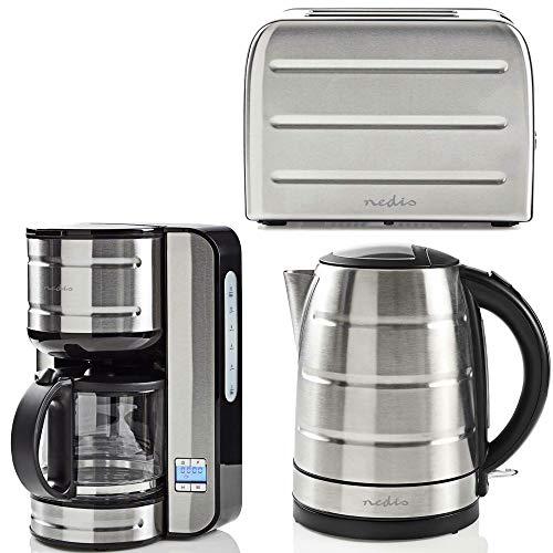 TronicXL Edelstahl Frühstück Set Toaster Kaffeemaschine Wasserkocher Desing