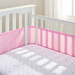 BreathableBaby 4 Sided Cot Mesh Liner in Mist (Pink)
