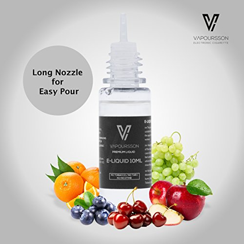 VAPOURSSON 5 X 10ml E Liquid Mixed Fruits| Apple | Blueberry | Cherry | Strawberry | Watermelon | New Super Grade Formula To Create A Super Strong Flavour with Only High Grade Ingredients | Made For Electronic Cigarette and E Shisha