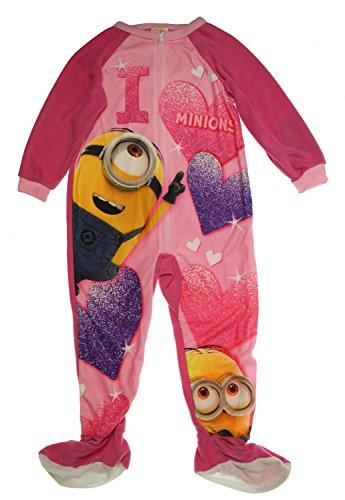 anzug Minions Fleece Einteiler Mädchen rosa warm Reißverschluss Girl Overall ()