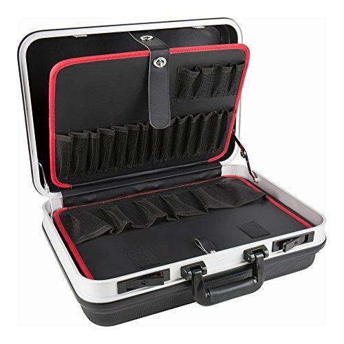 STIER Werkzeugkoffer Basic leer, ABS-Kunststoff Kofferschale, schwarze Werkzeugkiste, stabil & schlagfest, Tragkraft 15 kg, 30 Werkzeugtaschen, inkl. 2 Schlüsseln
