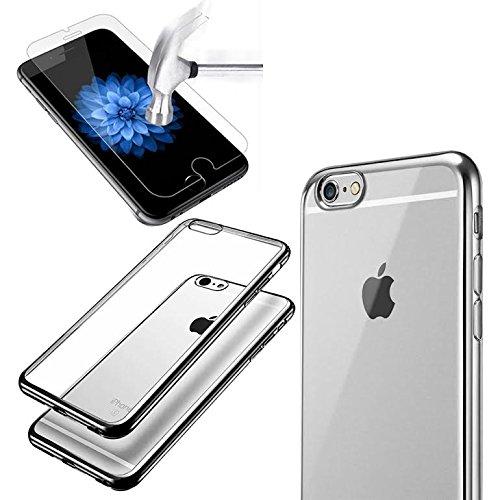 iPhone 7Case TPU Gel Fall [Drop Schutz/Shock Absorption Technology] für Apple iPhone 7Cover mit Apple iPhone 7S gehärtetem Glas Displayschutzfolie. Komplett Pack 2in1Fall & Tempered Glas für Apple schwarz