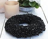 schwarz Shabby Blüten Kranz Türkranz Wandkranz Ø 40 cm Naturkranz Landhaus