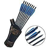 SHARROW 12 x Armbrustbolzen 20 Zoll Carbonpfeile Armbrustpfeile 16 17 18 22 Zoll Bolzen für Armbrust mit Pfeilköcher Armbrustpfeil Köcher (Blau, 20