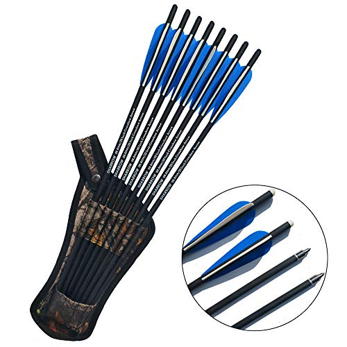 """SHARROW 12 x Armbrustbolzen 20 Zoll Carbonpfeile Armbrustpfeile 16 17 18 22 Zoll Bolzen für Armbrust mit Pfeilköcher Armbrustpfeil Köcher (Blau, 20\"""")"""