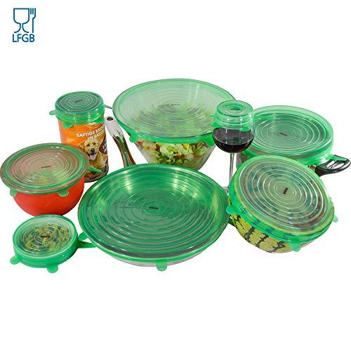 ADVANTUSE - Silikonabdeckung für Schüsseln in 8 Größen - vermeidet Müll spart Frischhaltefolie - für Küche und Haushalt - auch für Töpfe, Pfannen und Gläser - lebensmittelecht & ungiftig
