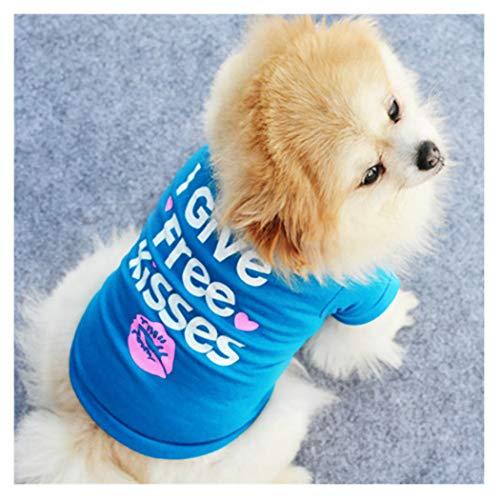 Petea Pet Apparel T-Shirt für Hunde und Katzen, Herz-Küsse, für den Sommer, XS, blau