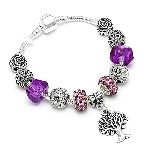 YOYOYAYA Tree of Life Charm Brand Bracelet Antique Silver Color Flower Beads Bracelets & Bangles Fashion Jewelry Gift,18Cm -