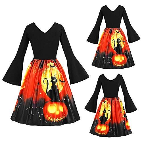 6-WUTOLUOHANS Frauen-lange Hülsen-Weinlese-Kürbise Halloween-Abschlussball-Kostüm-Schwingenkleid (Color : Schwarz, Größe : XXL) (Mädchen Halloween-kostüme Gemischte)