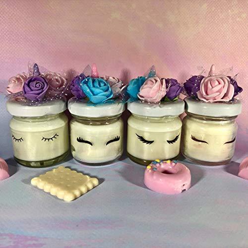 4 Mini Einhorn Kerzen in Soja Wachs und ätherischen Ölen Tischkarte zugunsten Geschenk feine Party...